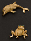 Estate Jewelry:Bracelets, Two Gold Animal Pins. ... (Total: 2 Items)