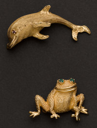 Two Gold Animal Pins