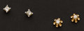 Estate Jewelry:Earrings, Two Gold & Diamond Stud Earrings. ... (Total: 2 Items)