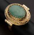 Estate Jewelry:Rings, Unique Gold & Jade Ring. ...