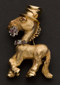 Estate Jewelry:Brooches - Pins, Unusual Gold Donkey Pin. ...