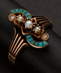 Estate Jewelry:Rings, Vintage Gold, Pearl & Turquoise Ring. ...