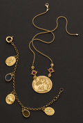 Estate Jewelry:Necklaces, Gold Necklace & Bracelet. ... (Total: 2 Items)