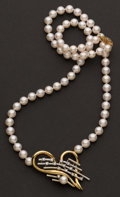 Estate Jewelry:Necklaces, Pearl, Gold & Diamond Necklace. ...