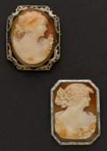 Estate Jewelry:Cameos, Two Gold Framed Cameos. ... (Total: 2 Items)