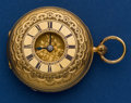 Timepieces:Pocket (pre 1900) , Swiss 39 mm 18k Gold Lever Fusee Demi-Hunter Case Pocket Watch. ...