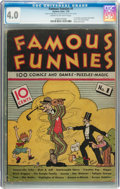 Platinum Age (1897-1937):Miscellaneous, Famous Funnies #1 (Eastern Color, 1934) CGC VG 4.0 Cream tooff-white pages....