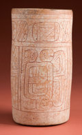 American Indian Art:Pottery, Incised Maya Cylinder with White Stucco...