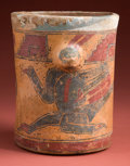 Pre-Columbian:Ceramics, Maya Vase with Scarce Iguana Deity...
