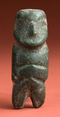 American Indian Art:Pottery, Mezcala Green Stone Axe God with Dual Imagery...