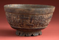 American Indian Art:Pottery, Maya Molded Bowl with Interweaving Deities...