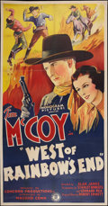 "Movie Posters:Western, West of Rainbow's End (Monogram, 1938). Three Sheet (41"" X 79"").Western.. ..."