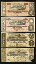 Confederate Notes:1863 Issues, CSA Fives and Tens.. ... (Total: 4 notes)