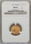 Indian Quarter Eagles: , 1911-D $2 1/2 MS63 NGC. NGC Census: (453/514). PCGS Population (330/286). Mintage: 55,600. Numismedia Wsl. Price for proble...