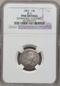 Early Dimes: , 1803 10C --Cleaned, Damaged--NGC Details. Fine. JR-3. NGC Census:(2/21). PCGS Population (4/33). Mintage: 33,040. Numismed...