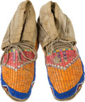 American Indian Art:Beadwork and Quillwork, A PAIR OF HIDATSA QUILLED AND BEADED HIDE MOCCASINS. c. 1890...