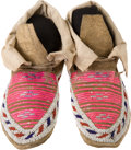American Indian Art:Beadwork and Quillwork, TWO PAIRS OF SIOUX QUILLED AND BEADED HIDE MOCCASINS. c. 1900...(Total: 2 Pair)