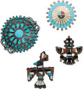 American Indian Art:Jewelry and Silverwork, FOUR ZUNI SILVER AND TURQUOISE JEWELRY ITEMS... (Total: 4 Items)