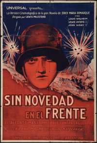"All Quiet on the Western Front (Universal, R-1938). Argentinean Poster (29"" X 43""). Academy Award Winners"