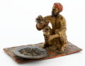 19th Century European:Orientalism, FROM A PRIVATE HOUSTON COLLECTOR. FRANZ XAVIER BERGMAN (AUSTRIAN,1861-1936) COLD-PAINTED FIGURAL BRONZE: MAN ON RUG B...