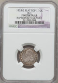 Bust Dimes, 1824/2 10C Flat Top --Improperly Cleaned--NGC Details. Fine. JR-1.NGC Census: (0/49). PCGS Population (4/45). Mintage: 10...