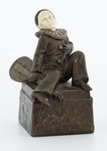 Sculpture, FROM A PRIVATE HOUSTON COLLECTION . PETER TERESZCZUK (AUSTRIAN, 1875-1963) PATINATED BRONZE AND IVORY PERROT FIGURE . Pete...