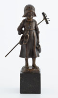 Paintings, FROM A PRIVATE HOUSTON COLLECTION . VAN DAEL FIGURAL BRONZE: GIRL WITH RAKE ON BASE . Circa 1880. Marks: VAN...