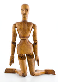 FRENCH WOOD ARTIST MANNEQUIN WITH FULLY MOVABLE JOINTS Late 19th century 33 inches high (83.8 cm)