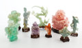 Other, COLLECTION OF NINE CHINESE HARDSTONE CARVINGS ON STANDS . 20th century. 7-1/2 inches high (19.1 cm). ...