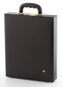 ARIES BLACK LEATHER DOCUMENT CASE WITH BRASS HARDWARE Mexico, circa 2000 16 inches high (40.6 cm)