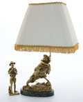 Decorative Arts, French:Other , GILT BRONZE OF BOY FISHING AFTER LAVERGNE, (FRENCH, 1852-1901) ANDA FIGURAL GILT BRONZE LAMP WITH MARBLE BASE . Marks to b... (Total:2 Items)
