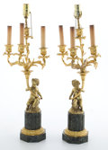 Decorative Arts, French:Lamps & Lighting, PAIR OF LOUIS XV STYLE FIGURAL GILT BRONZE FOUR-LIGHT LAMPS ONVERDE GREEN MARBLE BASES. France, 20th century. 26-1/2 inches...(Total: 2 Items)