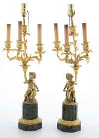 PAIR OF LOUIS XV STYLE FIGURAL GILT BRONZE FOUR-LIGHT LAMPS ON VERDE GREEN MARBLE BASES France, 20th century 26