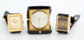 Jewelry, GROUP OF THREE TIMEPIECES, CARTIER AND PIAGET GOLD FILLED MEN'S WRISTWATCHES AND TURLER TRAVEL ALARM. Circa 2000. 1-7/8 inch... (Total: 3 Items)
