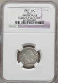 Early Dimes: , 1807 10C --Harshly Cleaned--NGC Details. Fine. JR-1. NGC Census:(7/190). PCGS Population (14/255). Mintage: 165,000. Numis...
