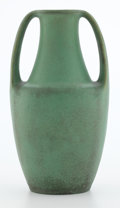 Ceramics & Porcelain, American:Modern  (1900 1949)  , TECO TWO-HANDLED MATTE GREEN POTTERY VASE DESIGNED BY FRITZ ALBERT. Crystal Lake, Illinois, circa 1910. Marks impressed: ...