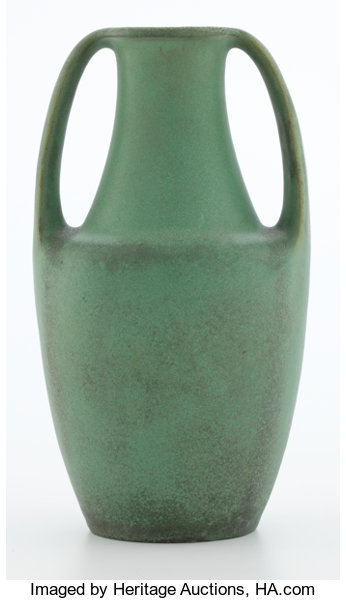 Teco Two Handled Matte Green Pottery Vase Designed By Fritz Lot