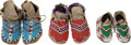 American Indian Art:Beadwork and Quillwork, THREE PAIRS OF SIOUX BEADED HIDE MOCCASINS. c. 1900 - 1920 ...(Total: 3 Pair)
