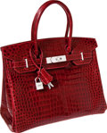 Luxury Accessories:Bags, Hermes Exceptional Collection Shiny Rouge H Porosus Crocodile 30cmBirkin Bag with Solid 18K White Gold & Diamond Hardware. ...