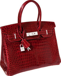 Hermes Exceptional Collection Shiny Rouge H Porosus Crocodile 30cm Birkin Bag with Solid 18K White Gold & Diamond Ha...