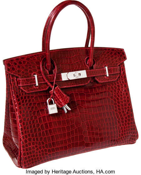 Hermes Exceptional Collection Shiny Rouge H Porosus Crocodile 30cm Birkin Bag with Solid 18K White Gold & Diamond Hardware...