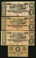 Confederate Notes:1863 Issues, T63 50 Cents 1863. T68 $10 1864 Three Examples.. ... (Total: 4notes)