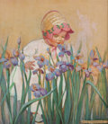 Paintings, JESSIE WILLCOX SMITH (American, 1863-1935). Little Girl with Irises, Good Housekeeping cover, June 1930. Oil on board. ... (Total: 2 Items)