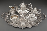 A REED & BARTON FIVE-PIECE SILVER TEA AND COFFEE SERVICE WITH TRAY Reed & Barton, Taunton, Massachusetts, design...