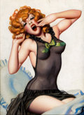 Pin-up and Glamour Art, ENOCH BOLLES (American, 1883-1976). Film Fun cover study,circa 1940s. Oil on canvas board. 12 x 9 in.. Not signed....