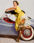 Pin-up and Glamour Art, GIL ELVGREN (American, 1914-1980). Cover Up, 1955. Oil oncanvas. 30 x 24 in.. Signed lower left. ...
