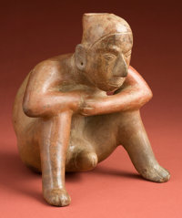 Colima Seated Man with Exposed Phallus