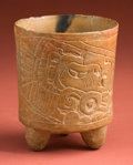 American Indian Art:Pottery, Maya Tripod with Teotihuacan Influence Design...