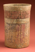American Indian Art:Pottery, Large Carved Maya Cylinder with Gesso Paint...