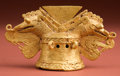American Indian Art:Pottery, Important Cocle Gold Finial Pendant...